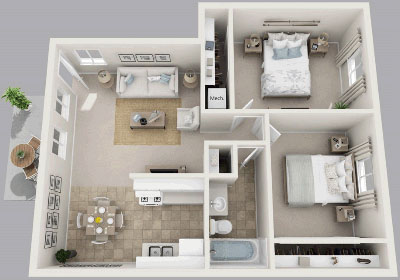 Two Bedroom / One Bath - 827 Sq. Ft.*