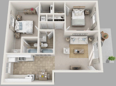 Two Bedroom / Two Bath - 958 Sq. Ft.*